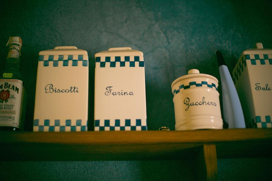 Italian jars on shelf