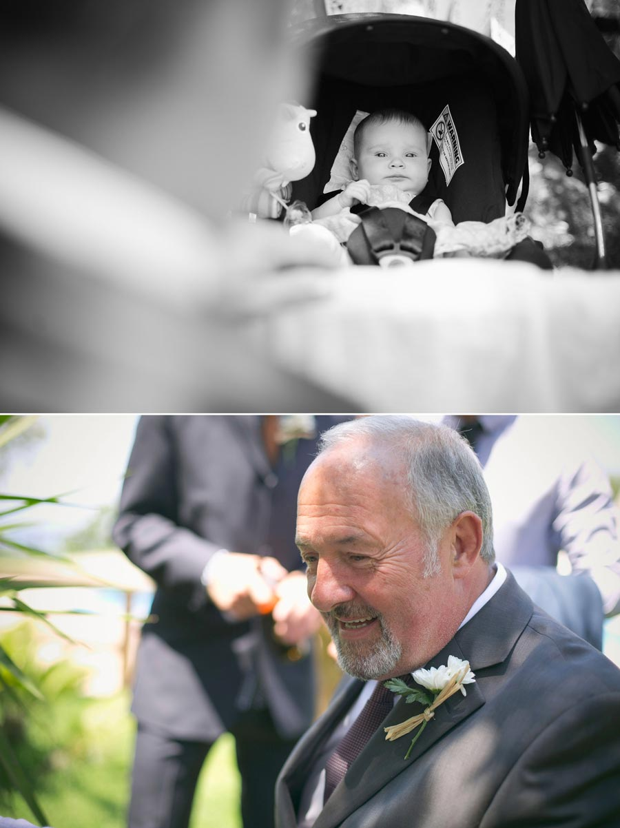 father of the groom looking at baby