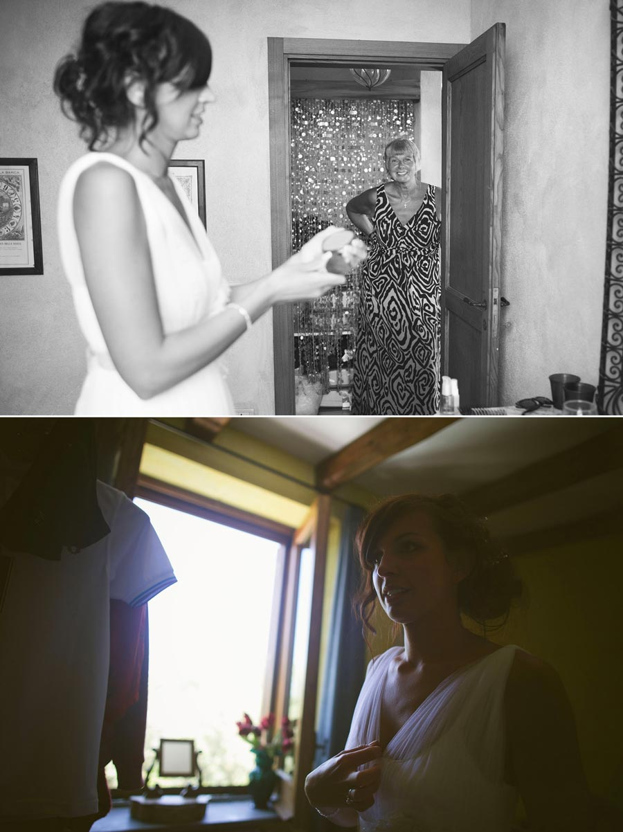 bride and mother getting ready for wedding
