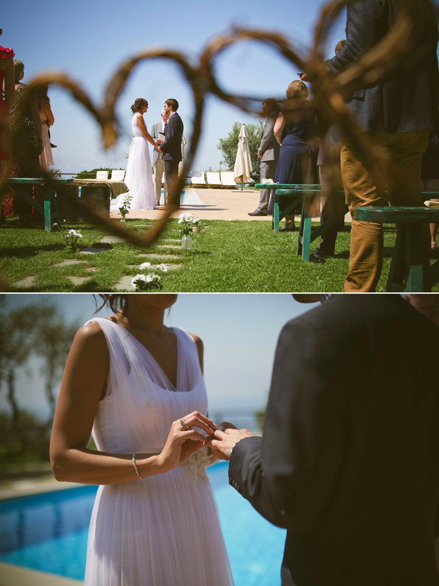 bride puts ring on grooms finger