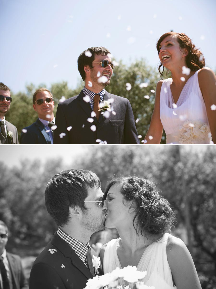 confetti thrown over married couple