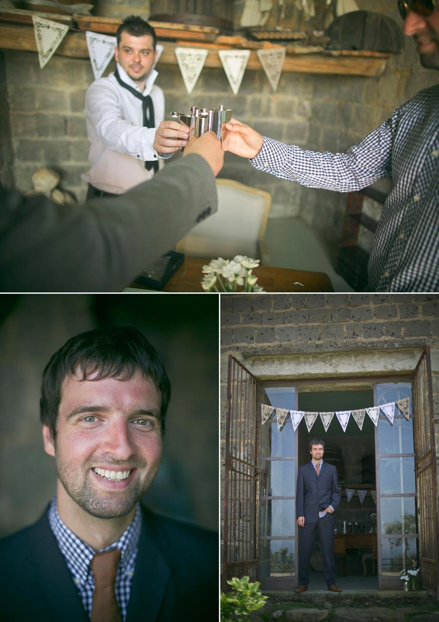 Italian wedding groom having a drink