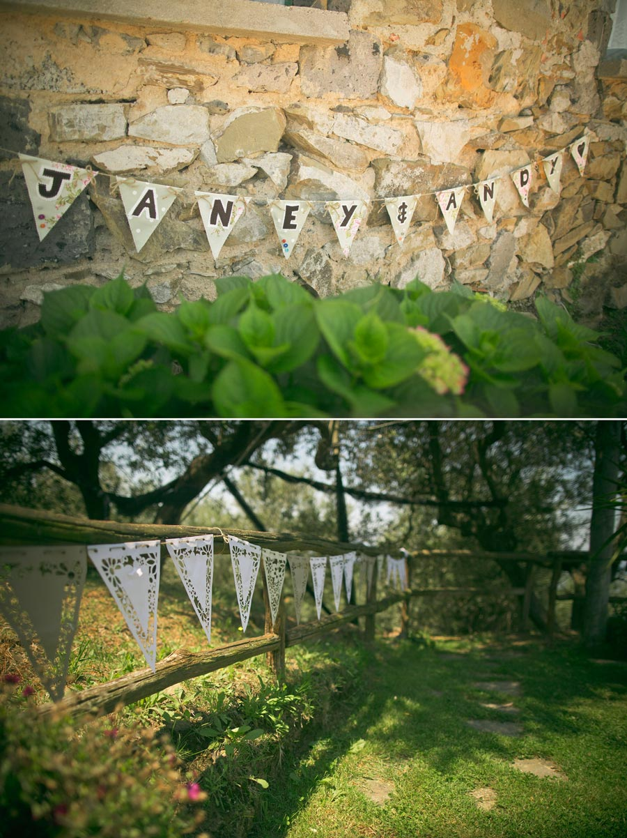 Wedding bunting on fence and wall