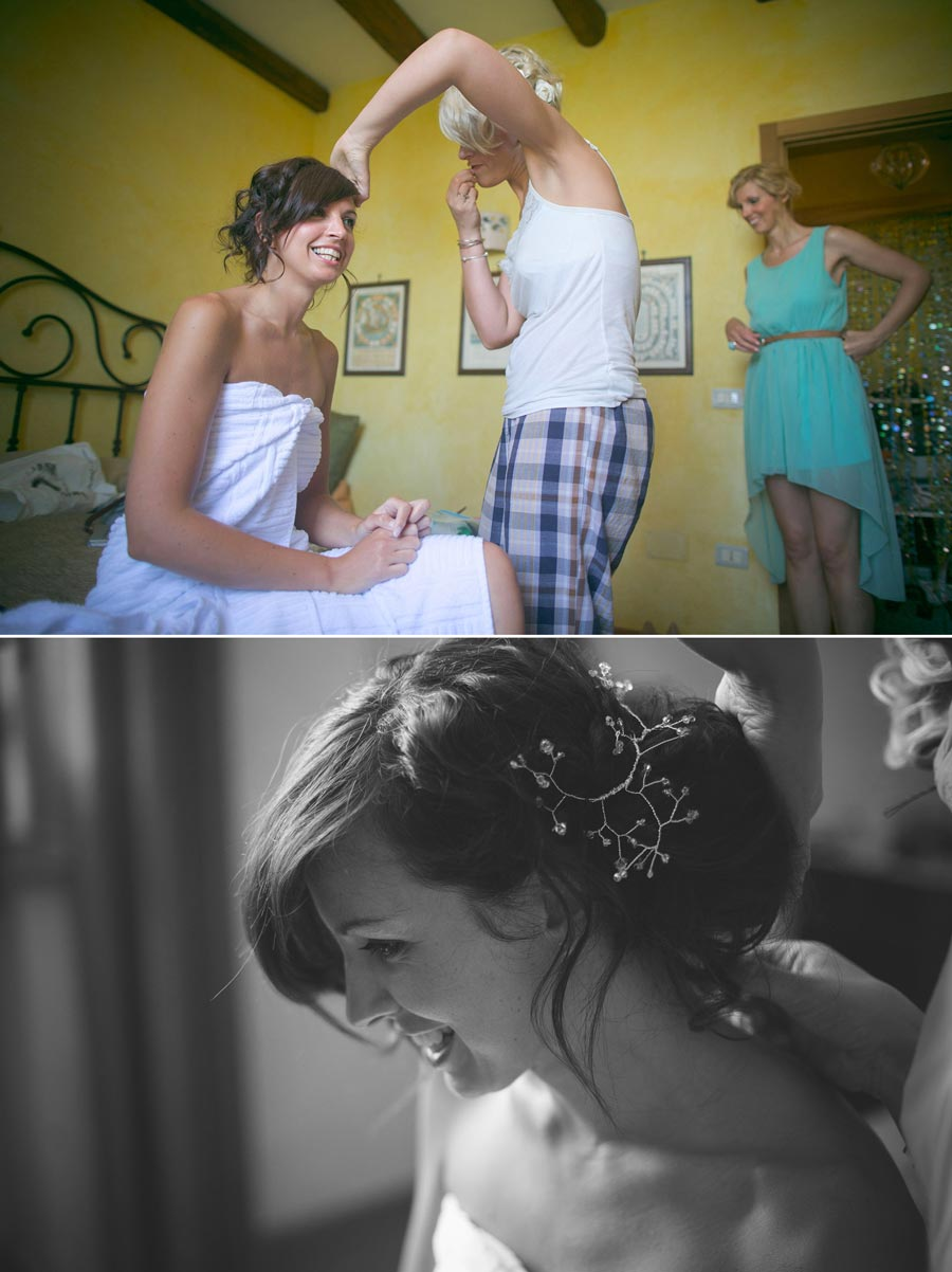 Bride having hair done by friend