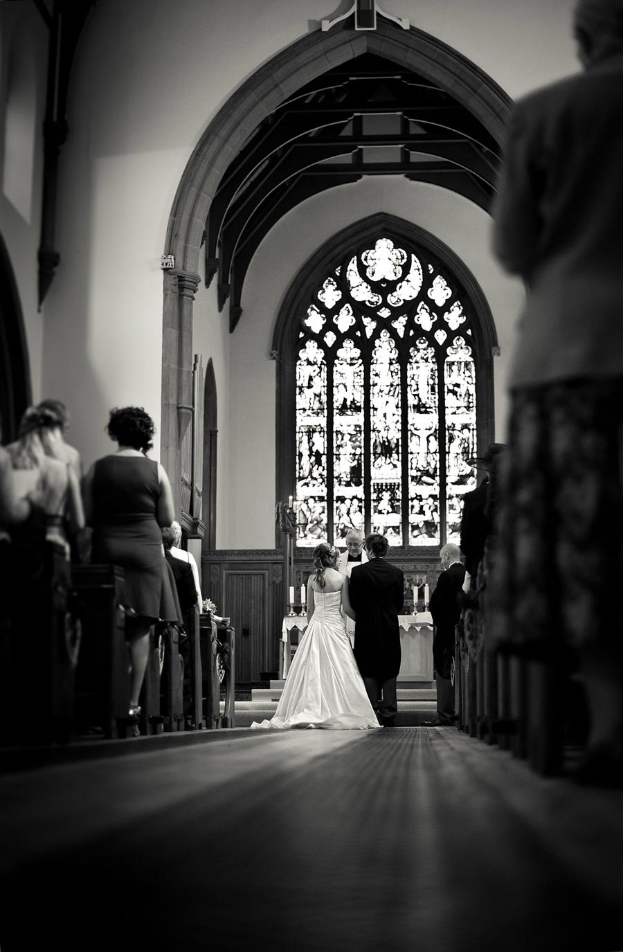 black and white church wedding photo