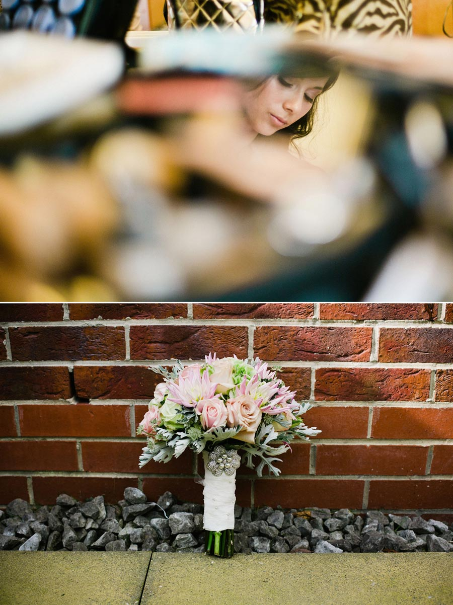 bride in mirror and flowers