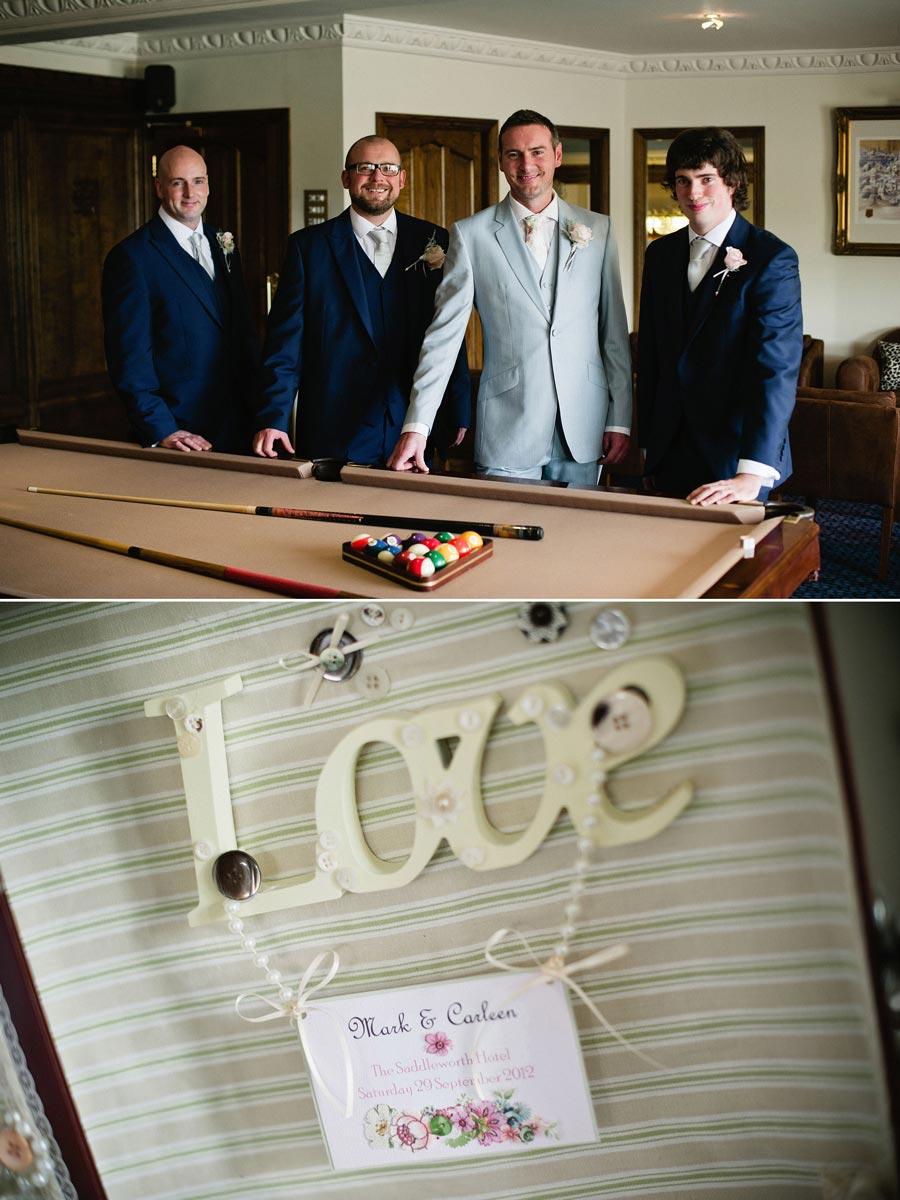 groomsmen by the pool table