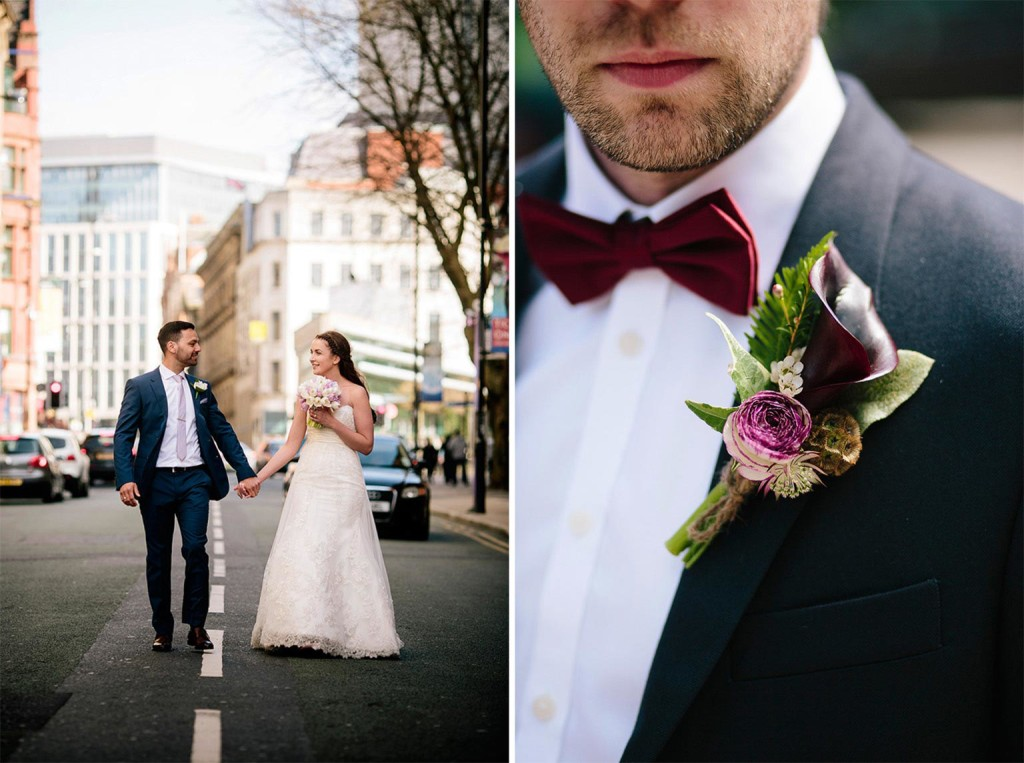the bride and groom walk down Quay Street