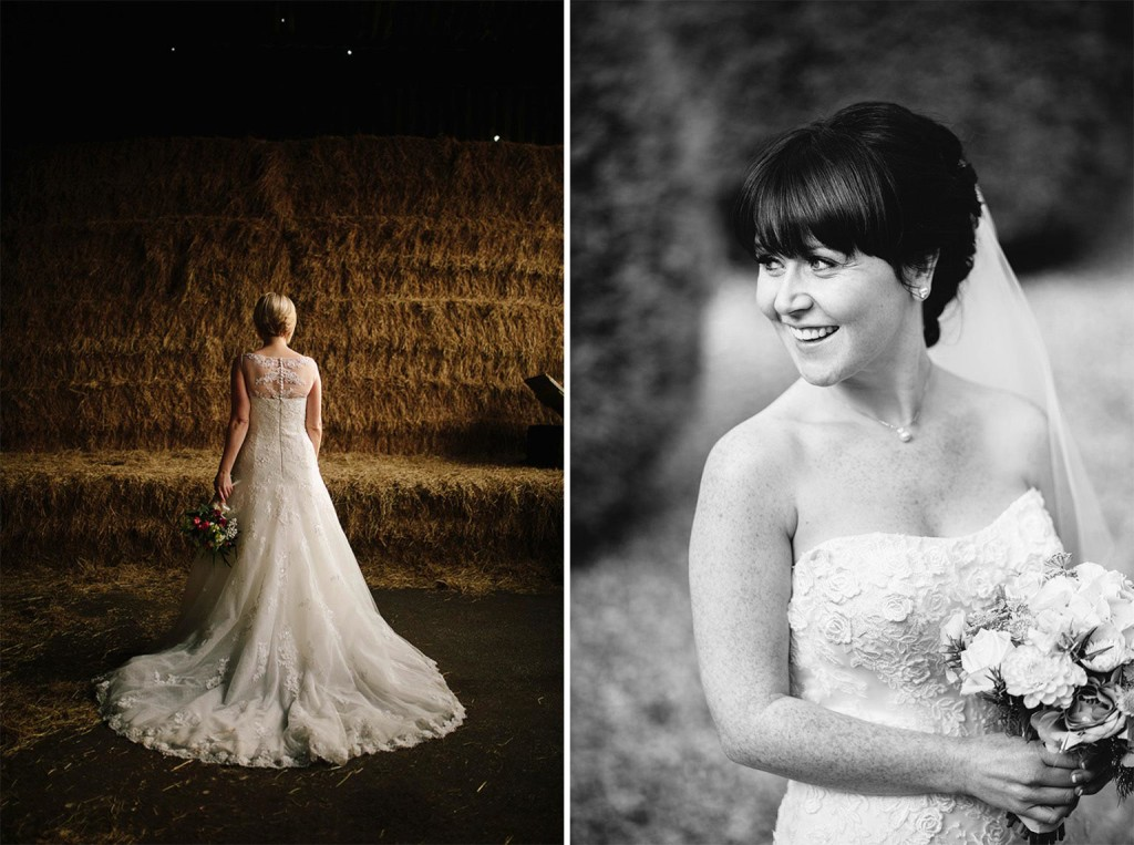 two shots of brides posing for the camera