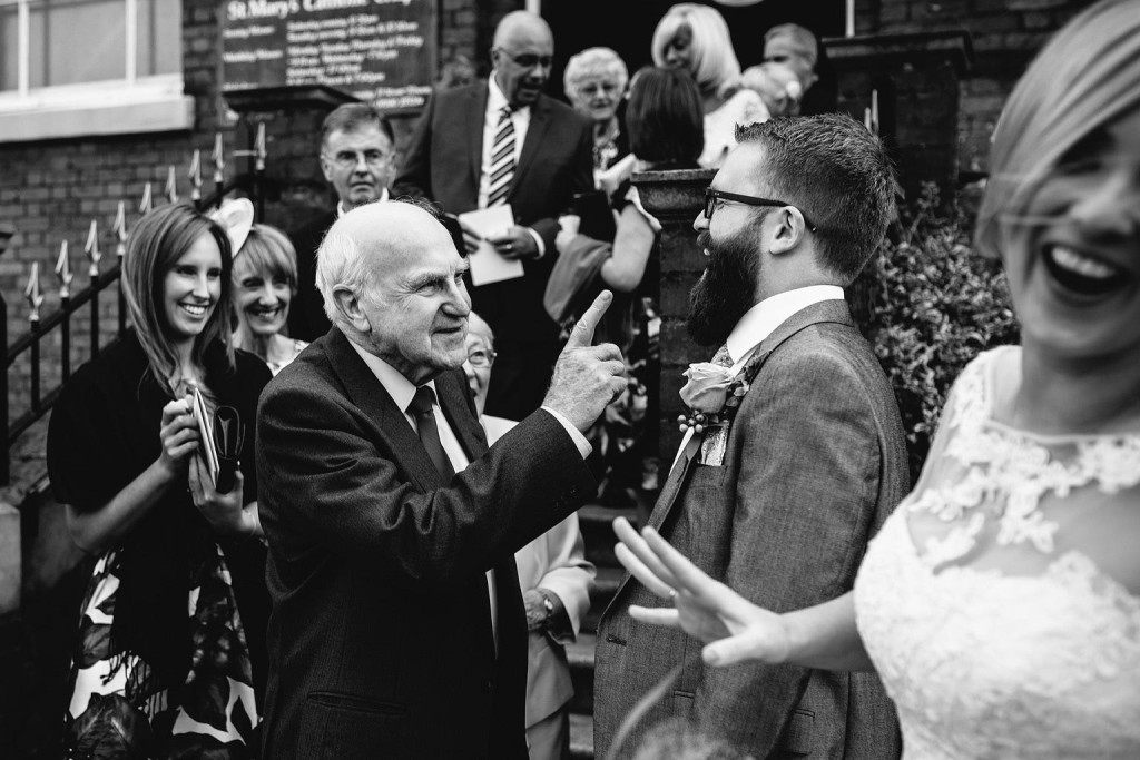 the bride's grandad warns the groom to look after his daughter