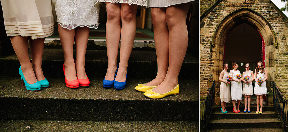 a close up shot of the bridemaids' colourful shoes
