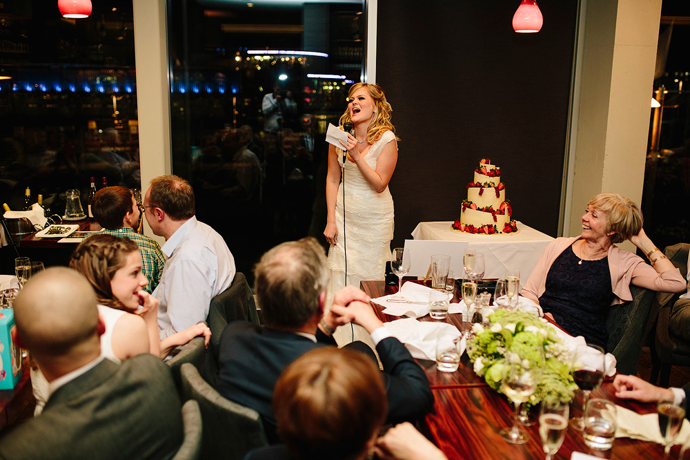 the bride's speech has everyone in fits of laughter