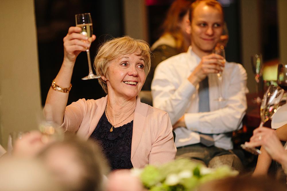 simon's mother toasts the happy couple