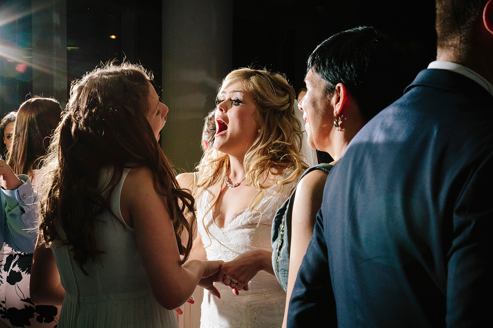 the bride dancing excitedly