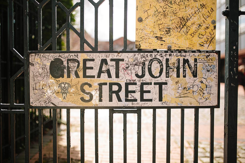 the great john street sign outside granada tv