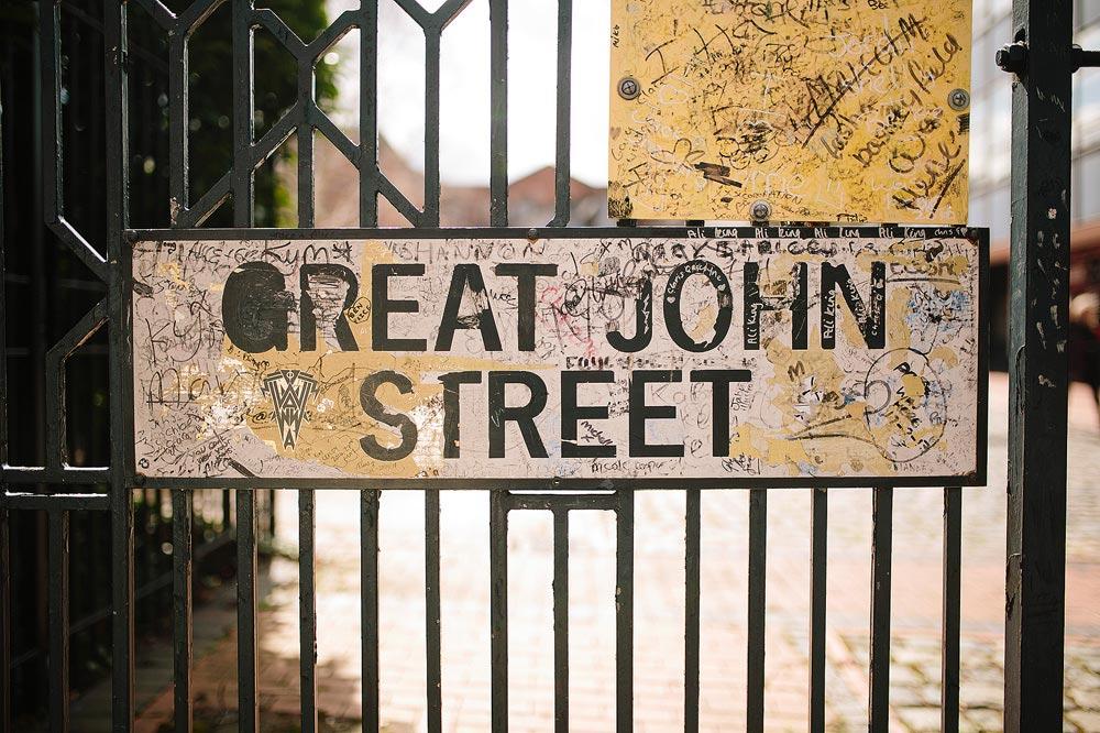 the great john street sign outside granada tv