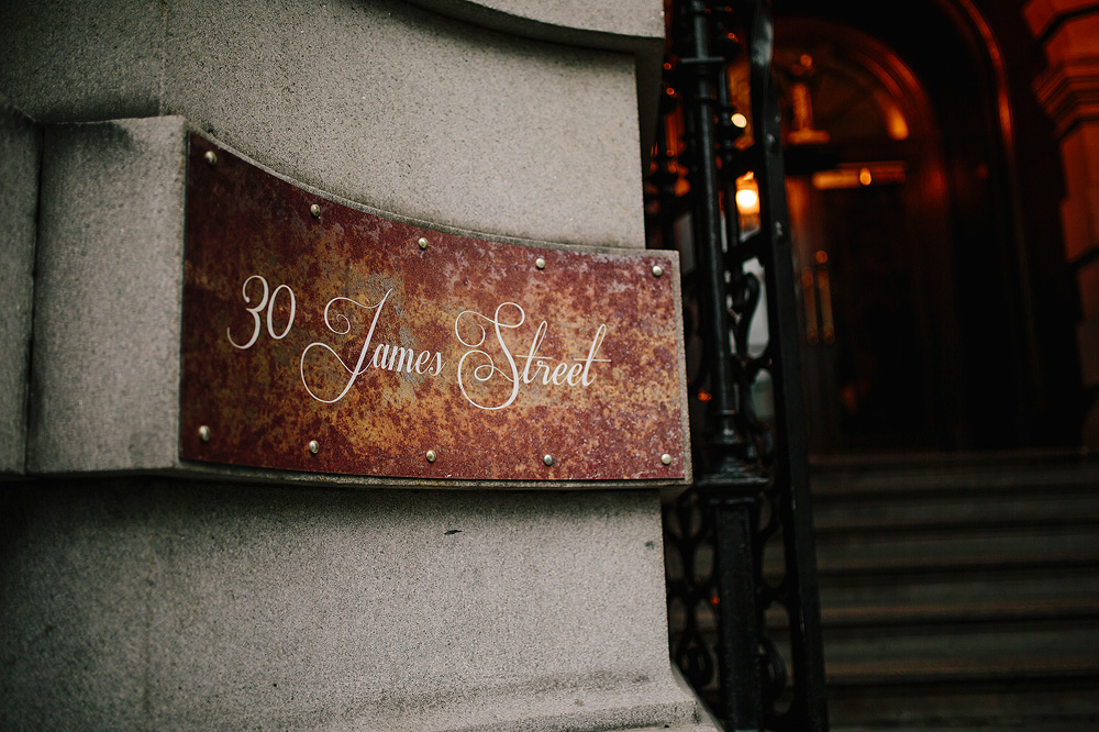 The sign at the front of 30 James Street.