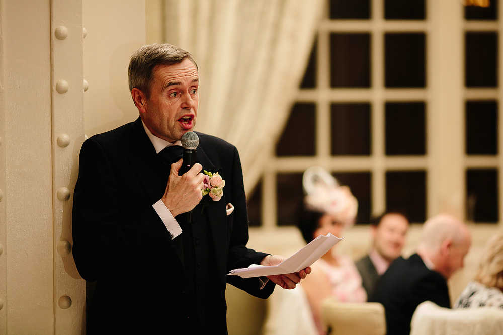 The father of the bride giving his speech.
