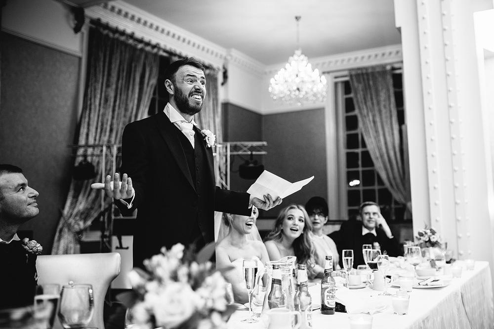 The groom reads his speech aloud.