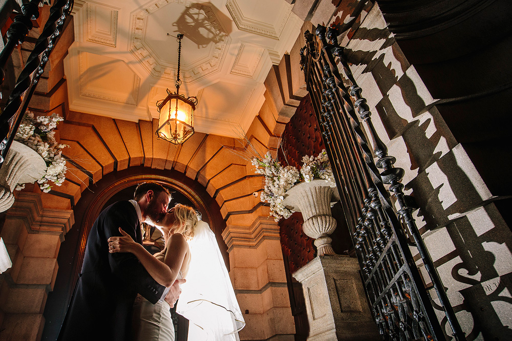 a stunning photograph of the bride and groom outside 30 JAmes Street.