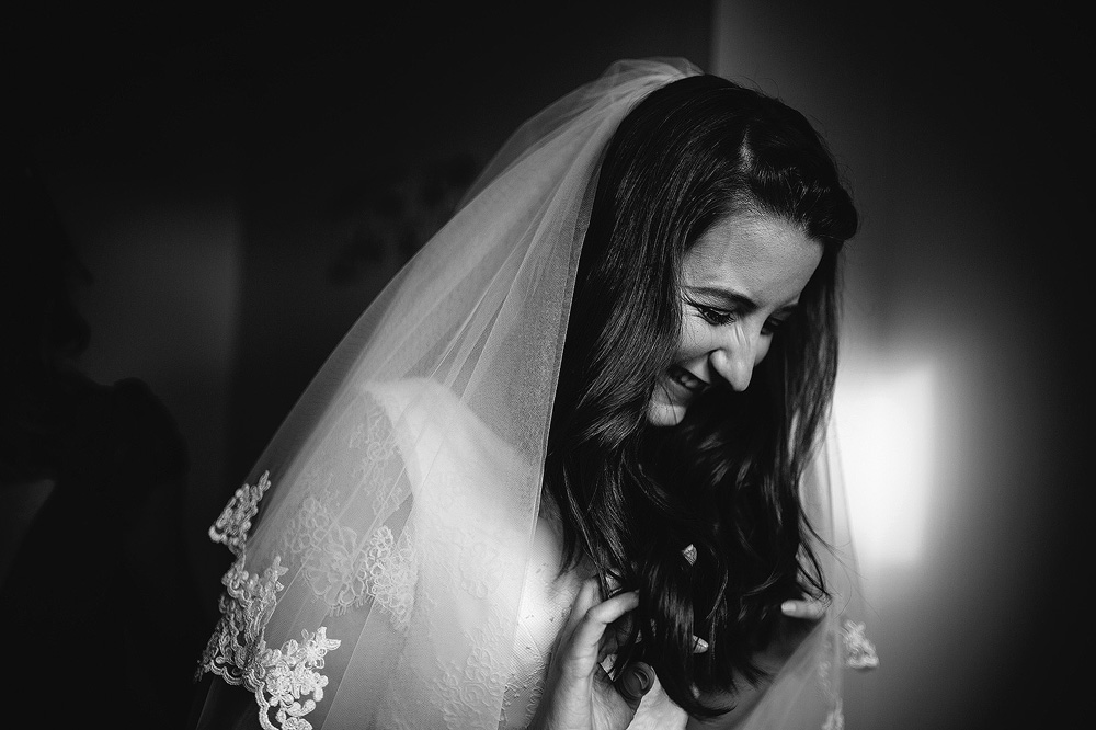 The bride laughs nervously.