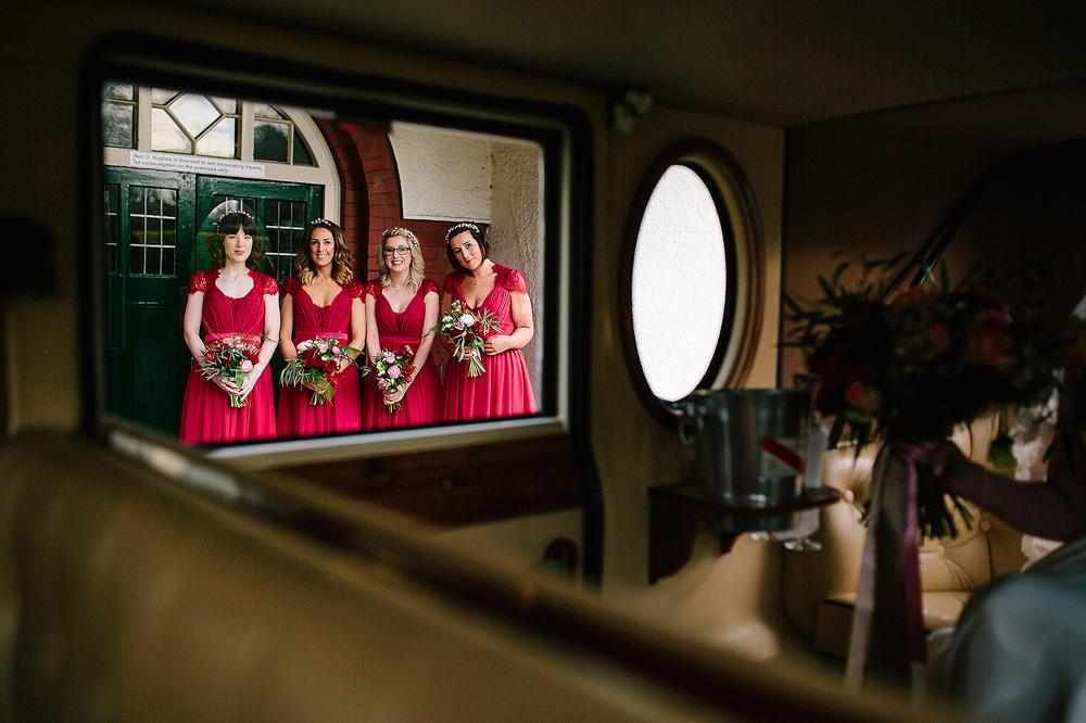 The bridemaids wait for the bride.