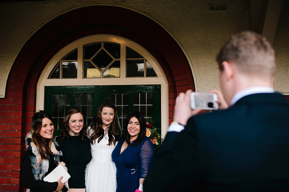 Guests pose for a photograph.