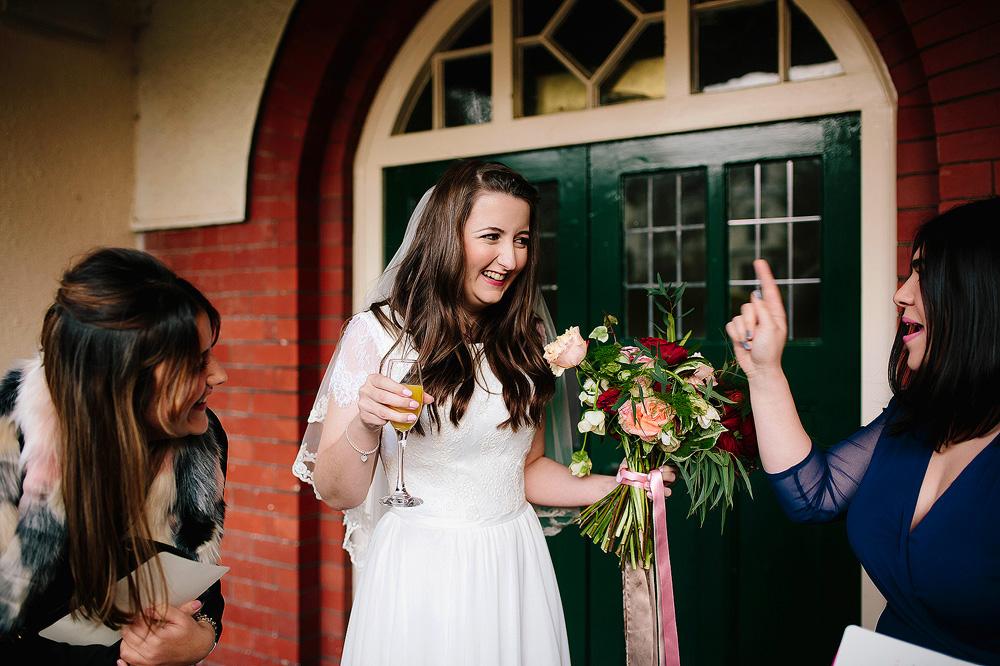 The bride is having fun.