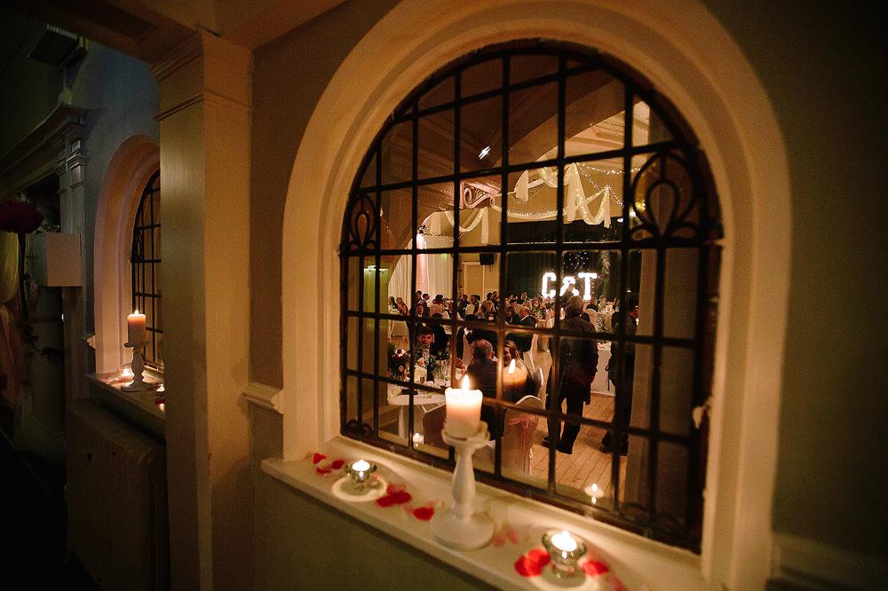 A shot of the room through an internal window.