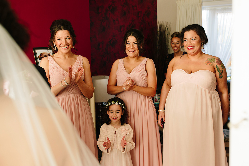 all the brdeismaids look at Vicky in her dress and are amazed at her beauty
