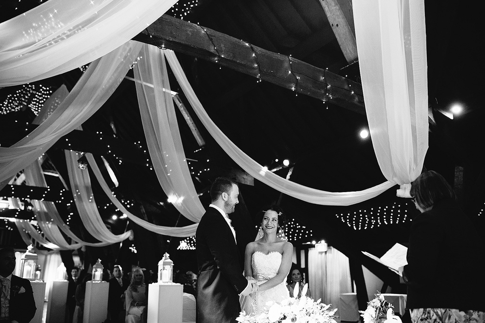 A beautiful balck and white shot of the bride and groom.