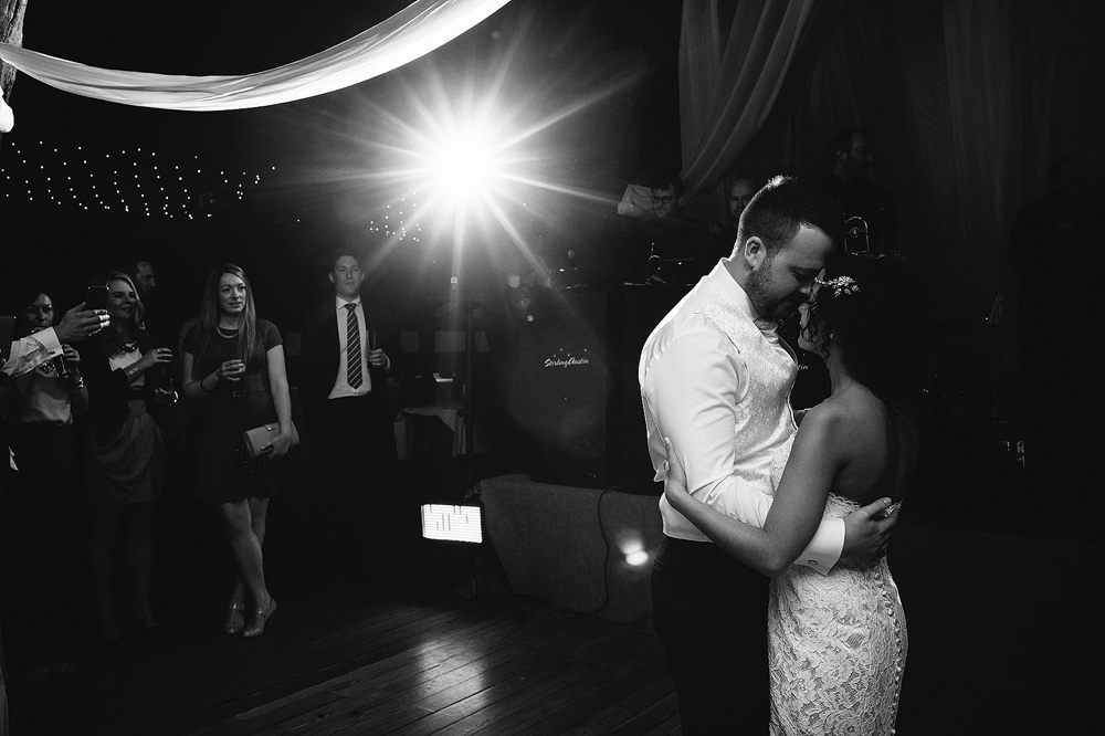 The happy couple perform their first dance.