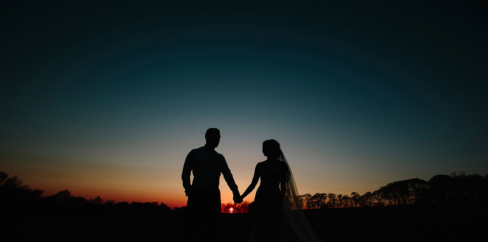 Rivington barn wedding photograph of a sunset