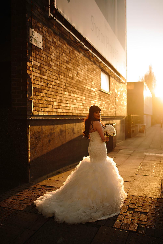 sara the bride looks beautiful in gorgeous sunset light