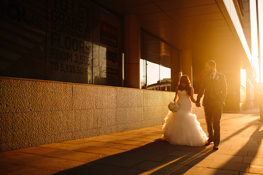 a golden hour portrait of the couple