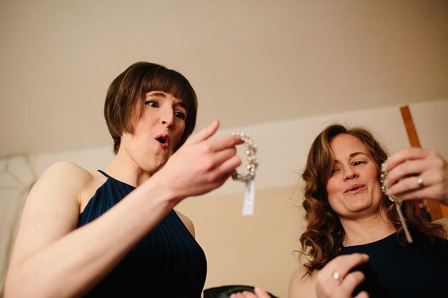 bridesmaid loooks surprised