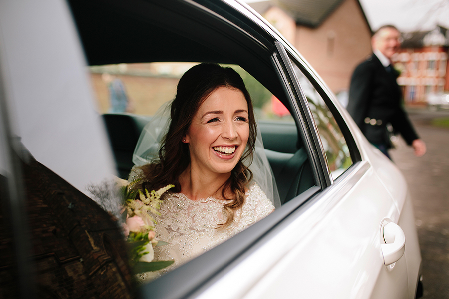 the bride arrives at the church to be married