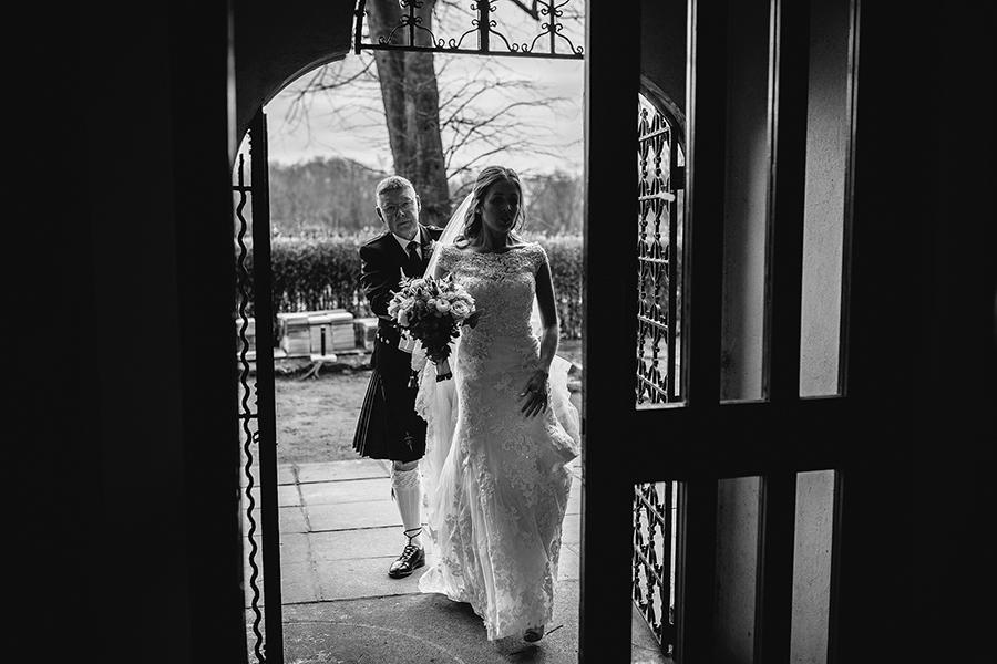 she walks into the wedding venue